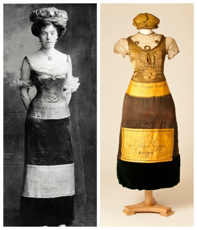 Champagne bottle dress worn by an unknown lady at a fancy dress party in 1902