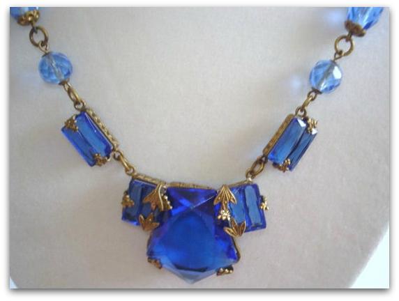 Blue art deco necklace