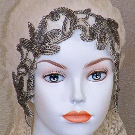 1920s beaded wedding cloche