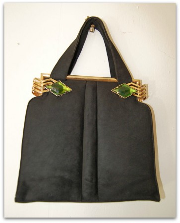 theuptownpurr art deco handbag w green emeralds