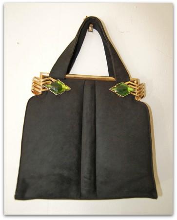 theuptownpurr art deco handbag w green emeralds