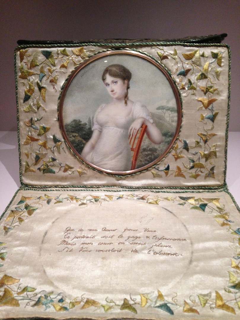 Leather and silk lettercase with embroideries, poem and miniature by Favorin Ledebour France 1806