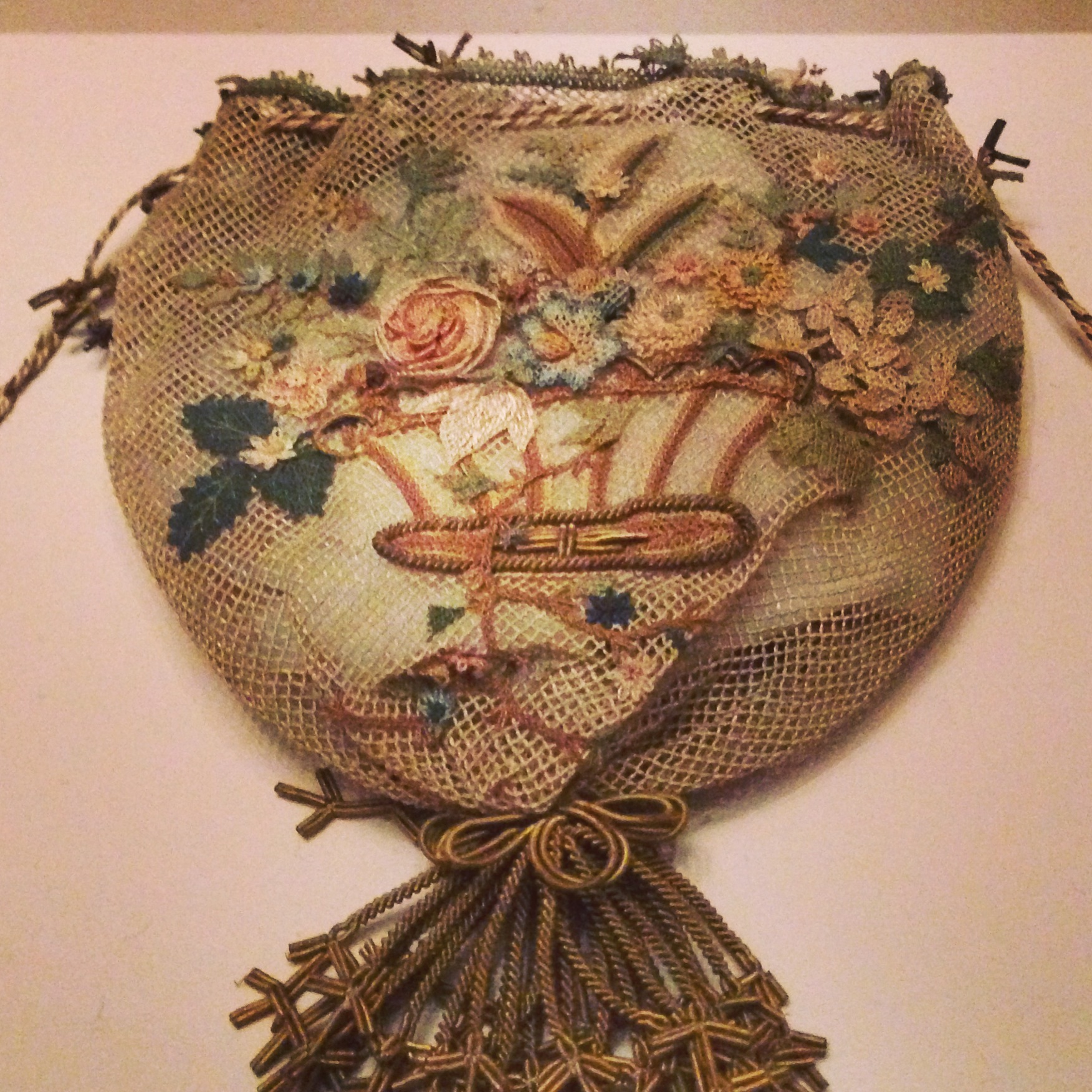 Reticule of tulle embroidered with flowers in relief, Lady Ponsonby, Turkey 1841