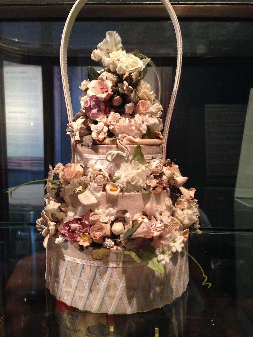 Wedding cake Handbag silk with silk flowrs Joy Liotta Horvath 1999