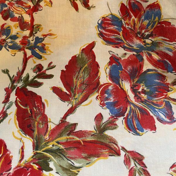 Vintage Large Floral Textile Fabric Flower detail