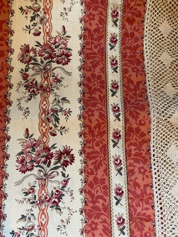 Detail Floral Textile with Lace Border