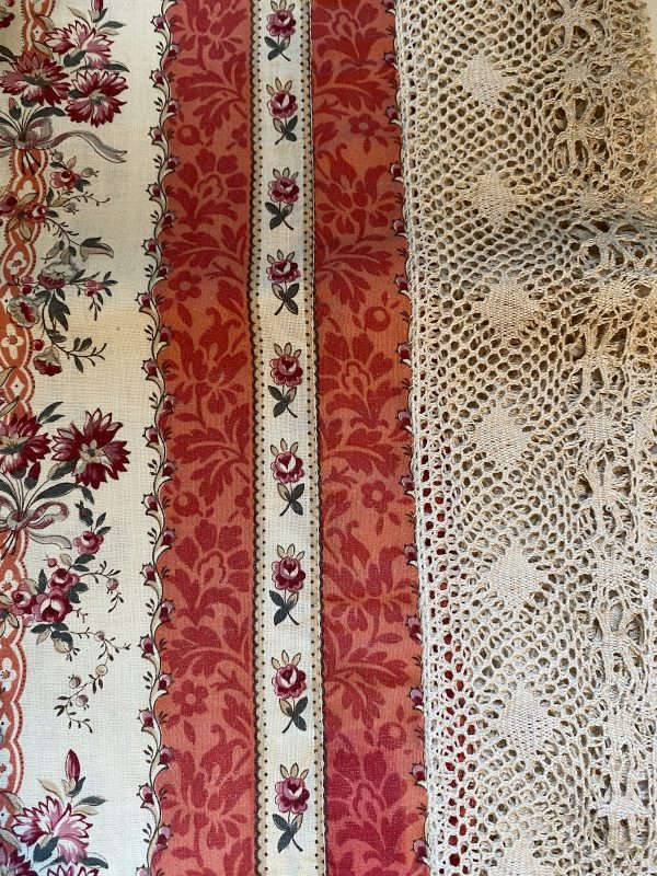 Detail French Floral Textile with Lace Border