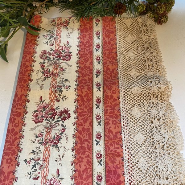 French Textile Fabric with Lace Border