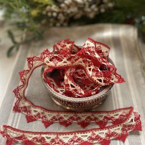 Cream & Red Lacve Trimming