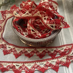 Cream & Red Lace Trimming Vintage