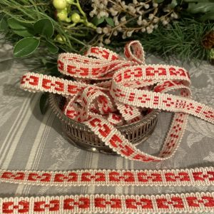 Red & White Woven Braid Trimming