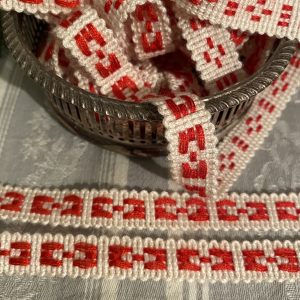Red and White Woven Braid Trimming