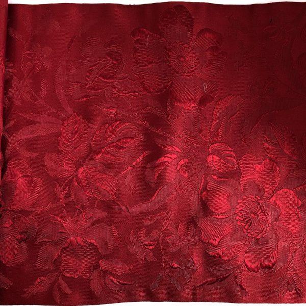 Vintage Red Silk Brocade Ribbon close up