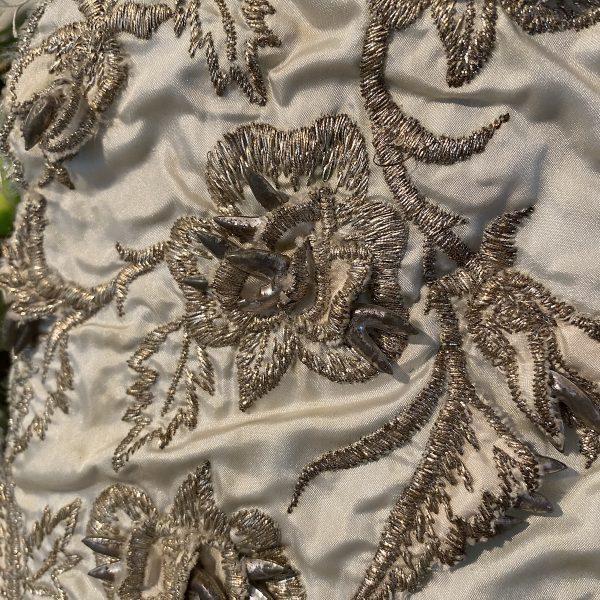 Vintage embellished textile close up