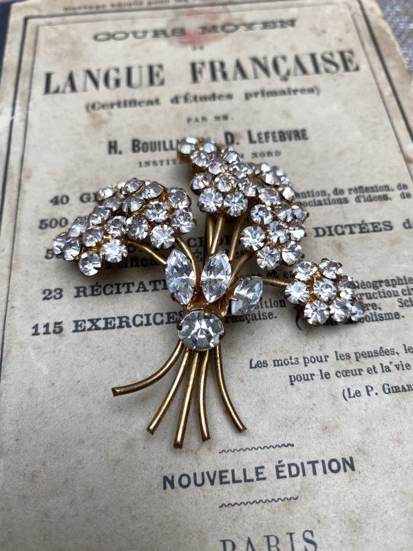 Diamante Flower Spray Brooch