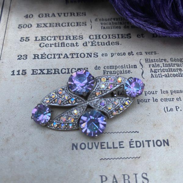 Lilac & Aurora Borealis 1940s Vintage Brooch