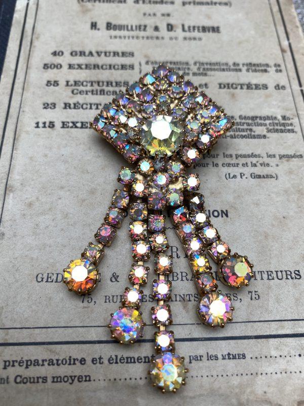 Aurora Borealis Diamante Vintage Brooch