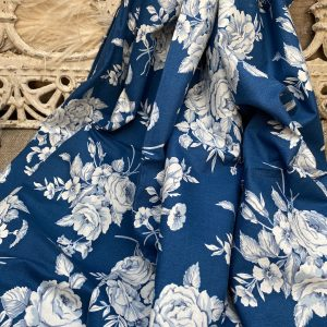 Navy Blue Floral Vintage Fabric