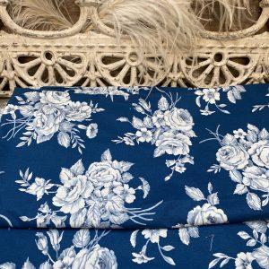 Vintage Floral Navy Blue Fabric