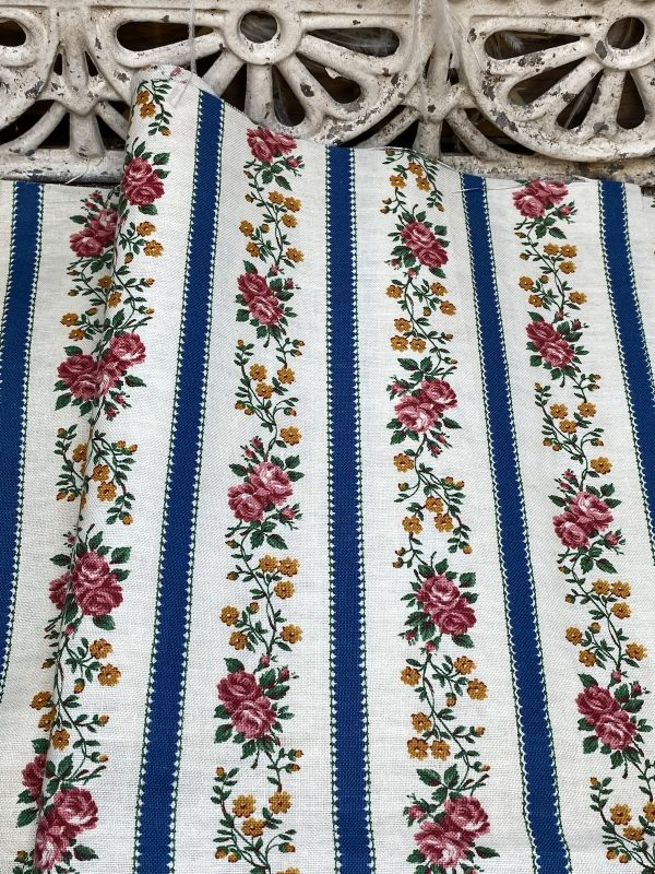 Trailing Rose Striped Vintage fabric