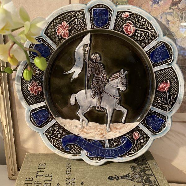Joan of Arc Majolica Plate