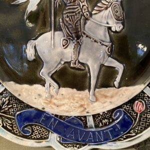 Antique Joan of Arc Majolica Plate