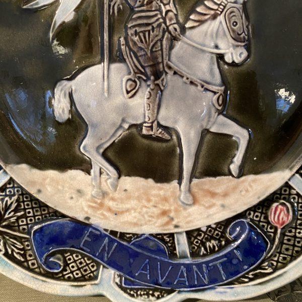 Antique Joan of Arc Majolica Plate