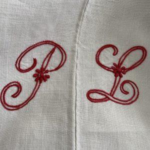 Vintage French Linen Sheet PL Monogram