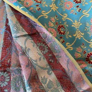 Vintage Blue & Gold Brocade Fabric